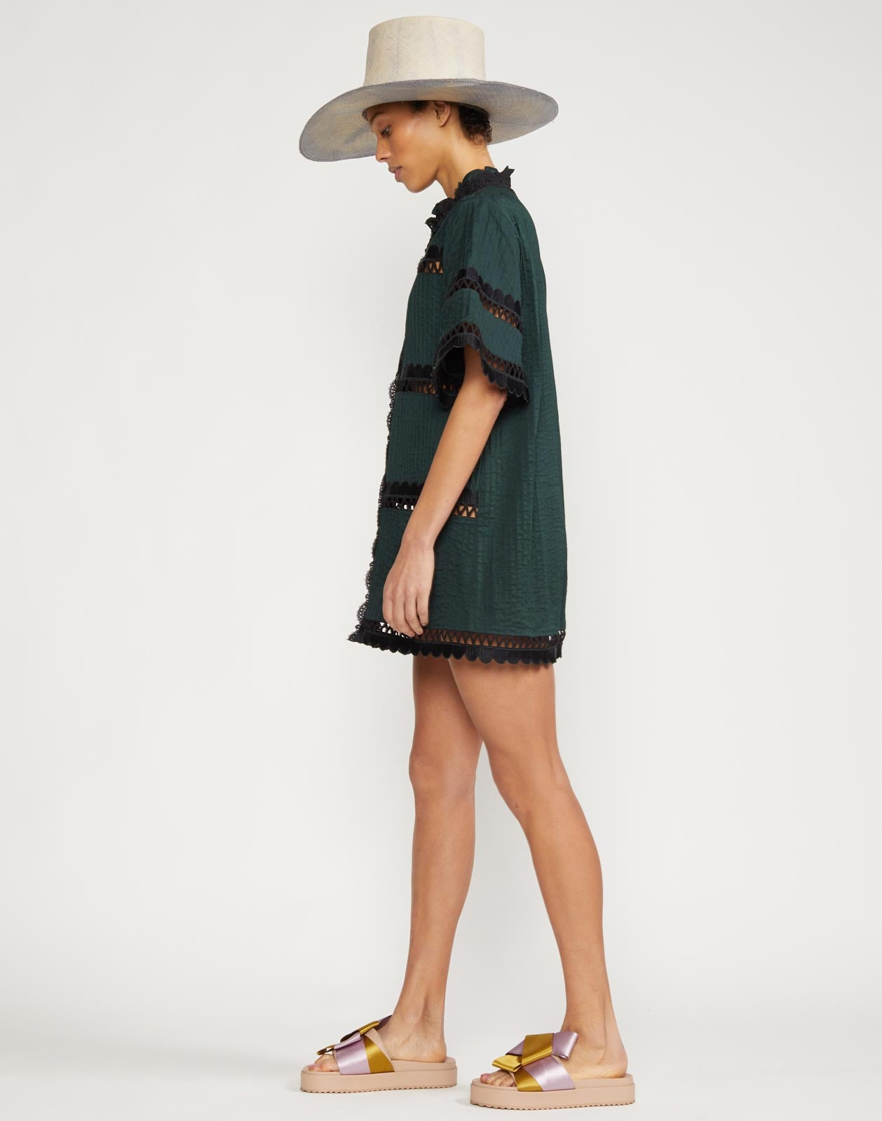 Cabana Scallop Embroidered Shirt Dress