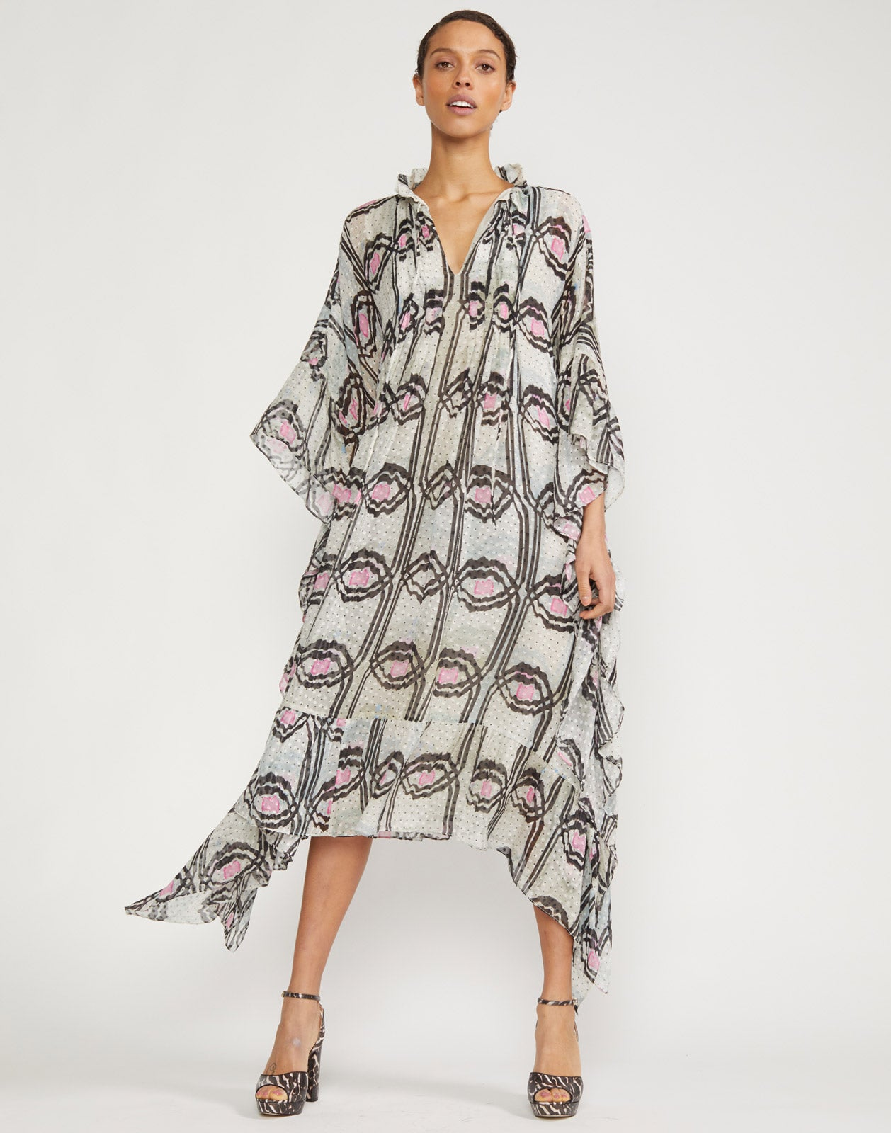 Thasos Silk Poncho Dress