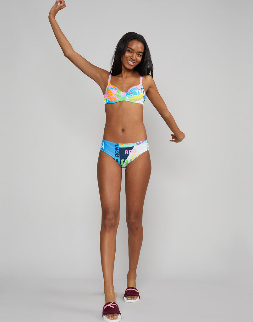 Full front view of bikini top in good vibes print with underwire