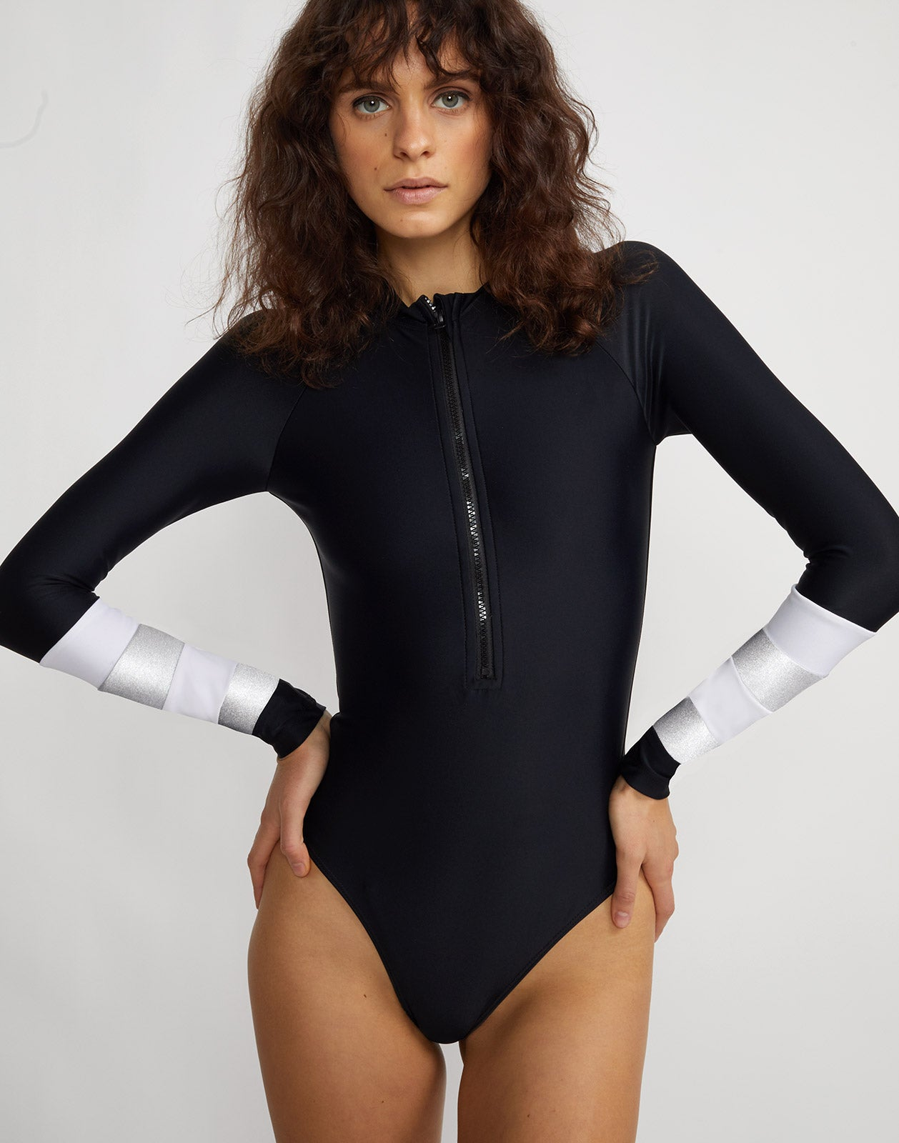Front view of the Silver Stripe Hepburn surfsuit.