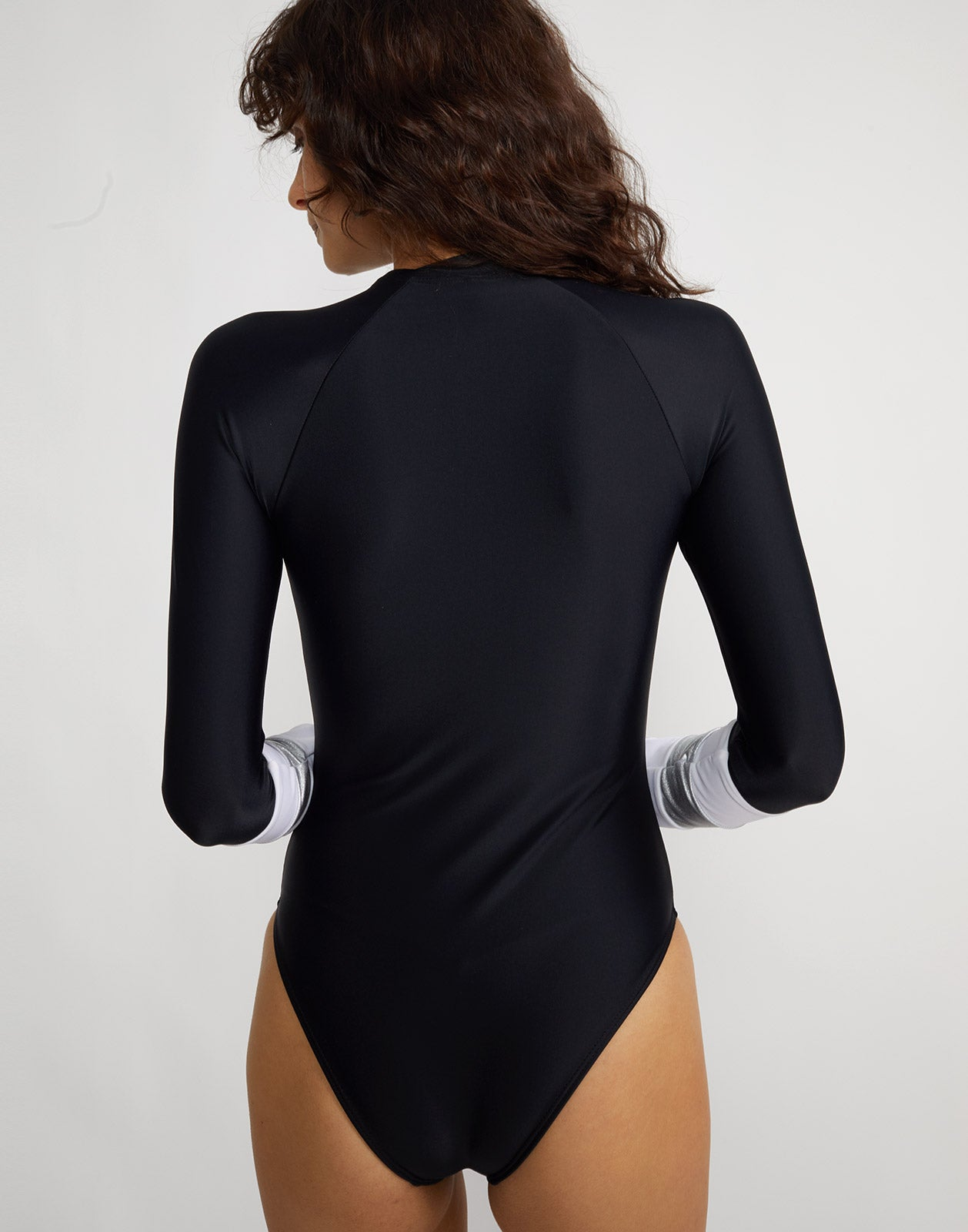 Back view of the Silver stripe Hepburn surfsuit.