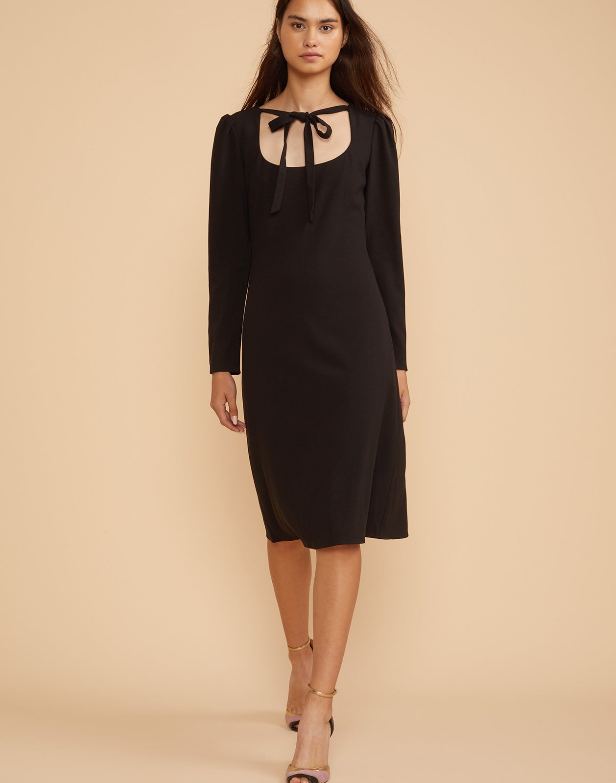 Full front view of the Waverly stretch crepe dress in black.