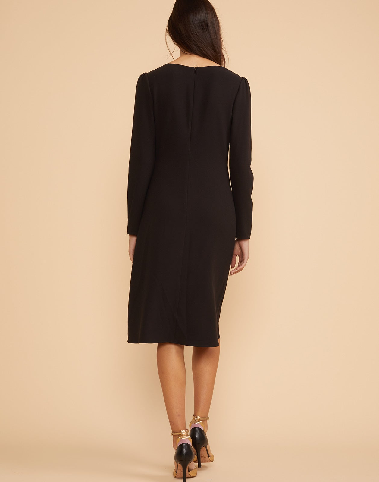 Back view of Waverly crepe dress with invisible back zip.