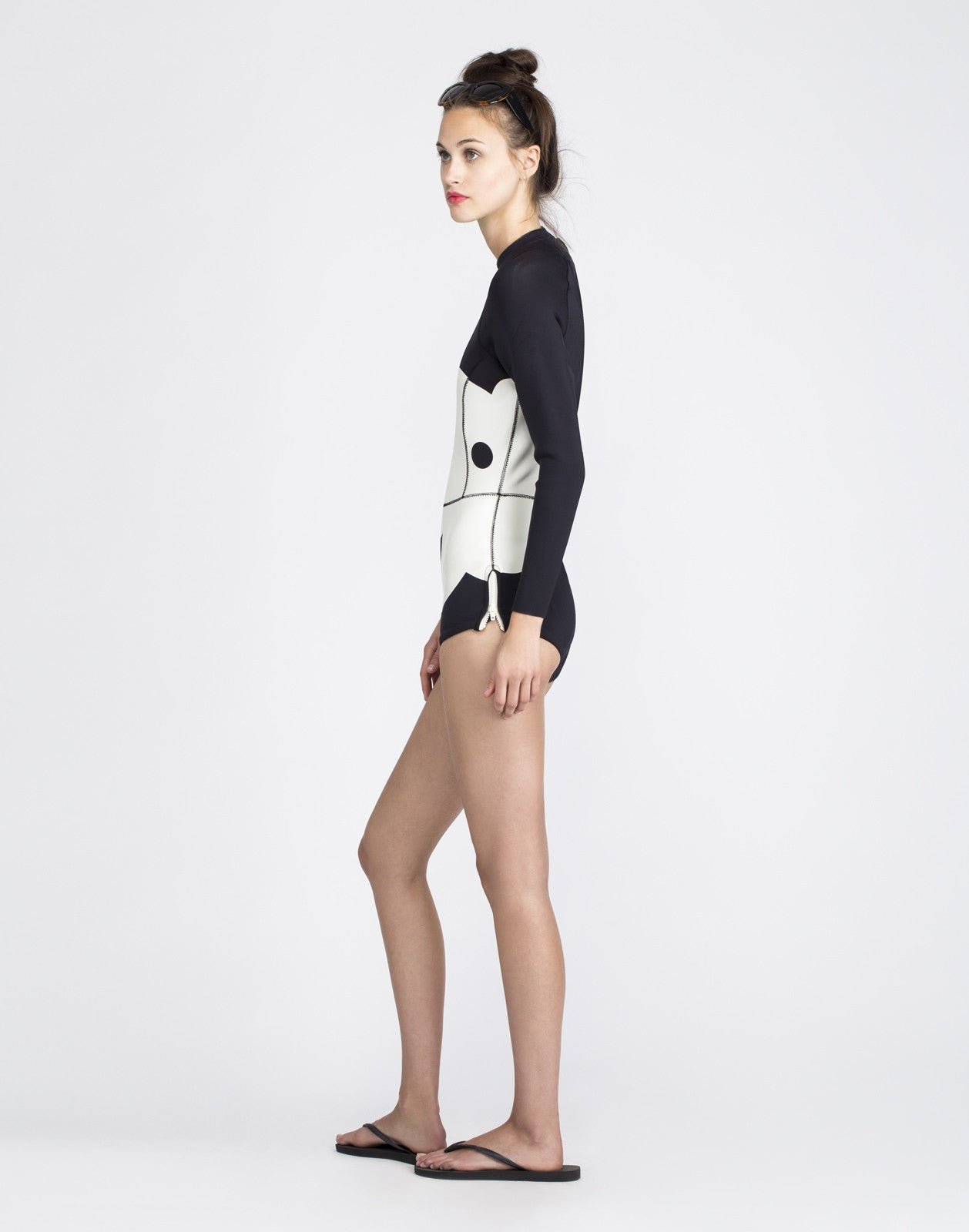 Black Large Placed Floral Wetsuit