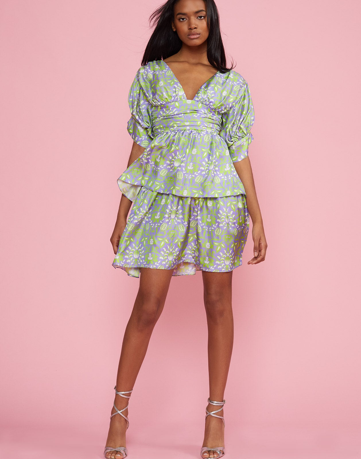 Front view of the Frieda Puff Sleeve Dress