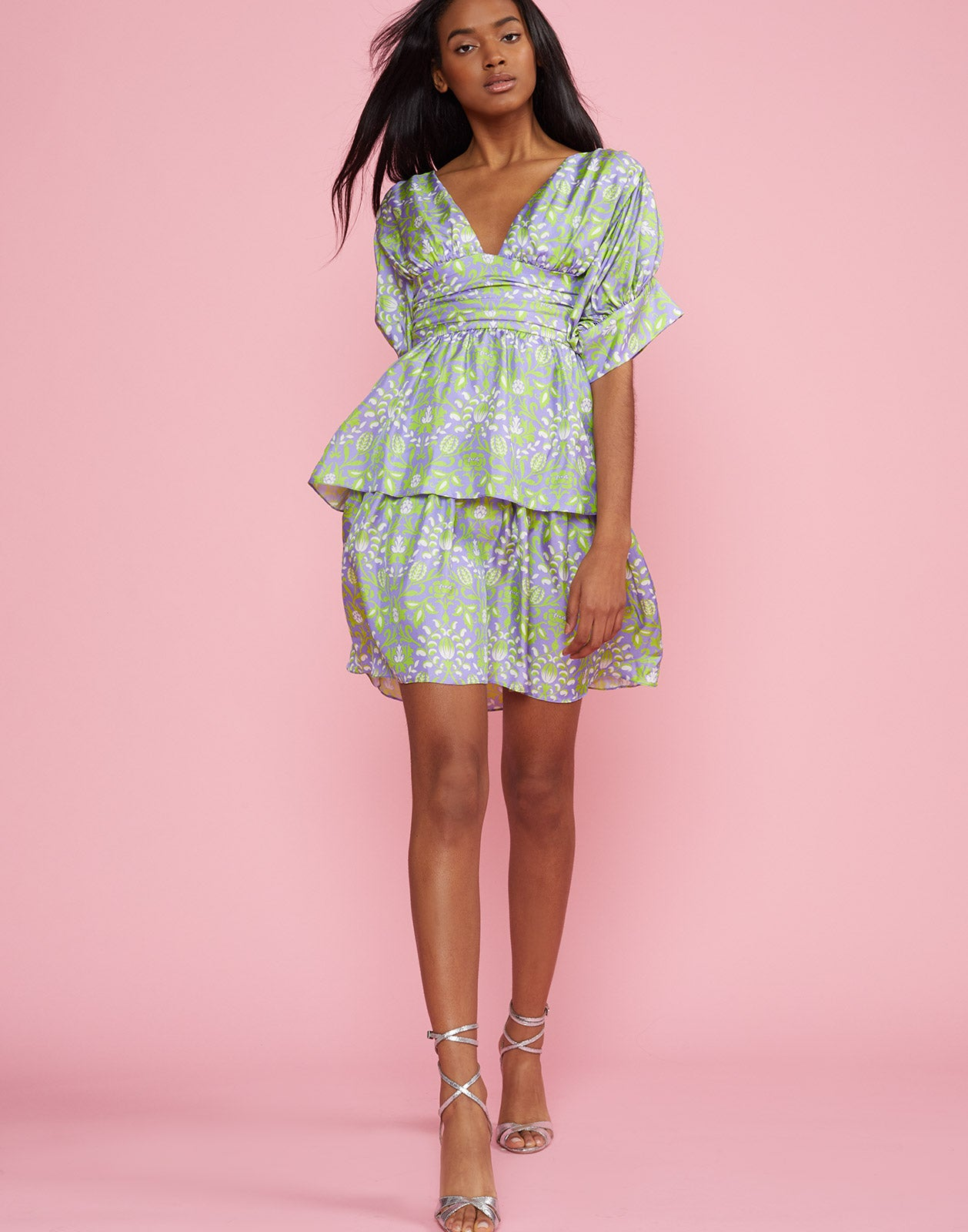 Full front view of the Frieda Puff Sleeve Dress