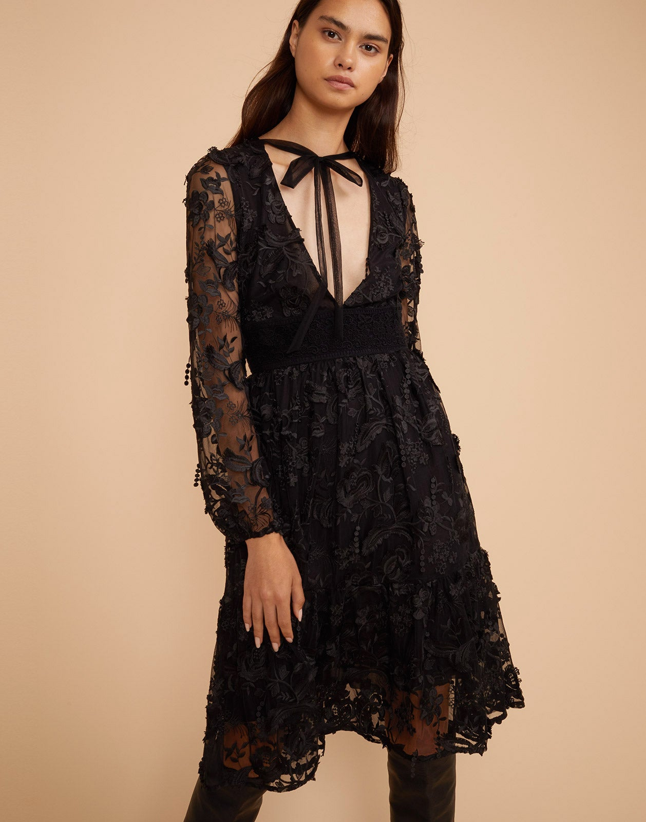 Harlow V Neck Lace Dress
