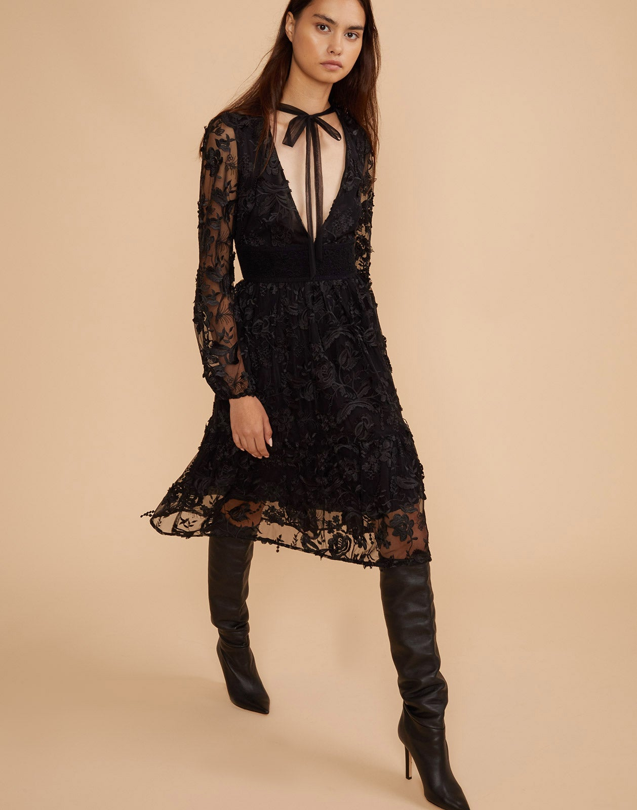 Full length view of the Harlow V Neck Lace Dress