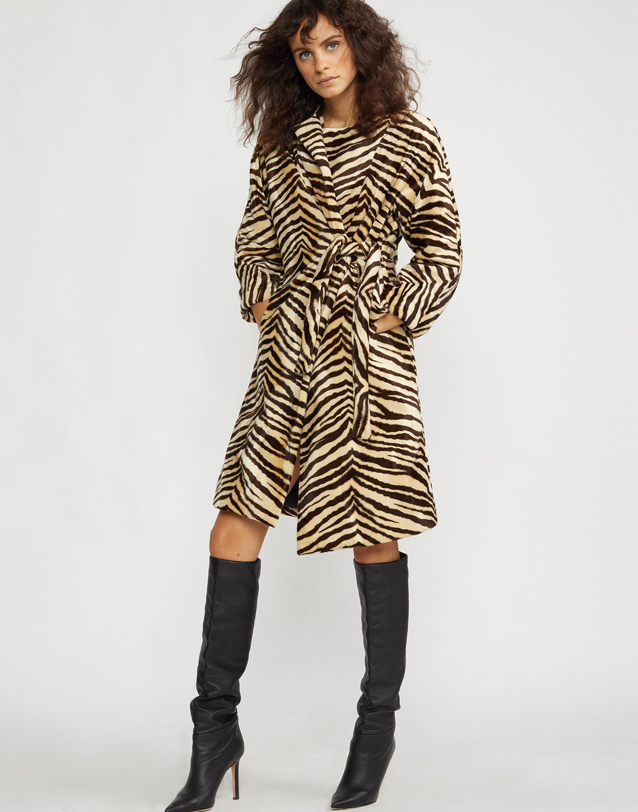 Front view of the Zebra faux fur coat.
