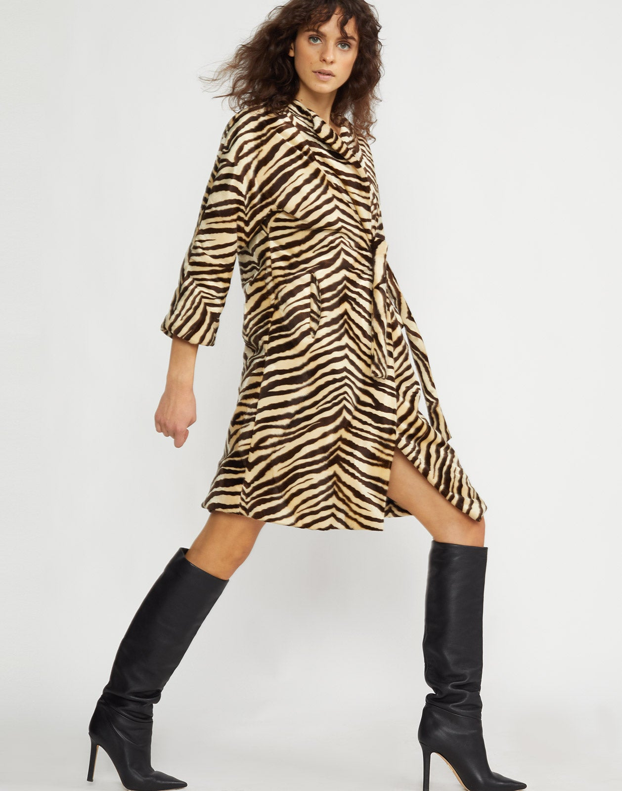 Side view of the Zebra Wrap Coat
