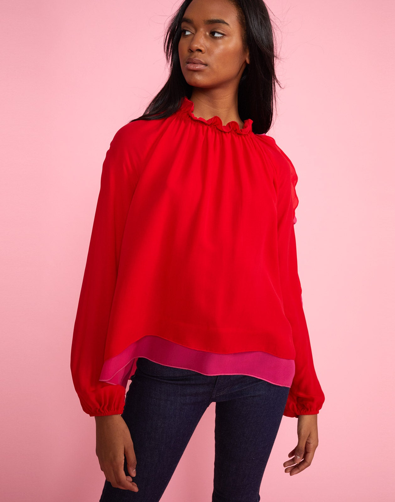 Alternate view of model wearing High Tide smocked ruffle neck blouse.