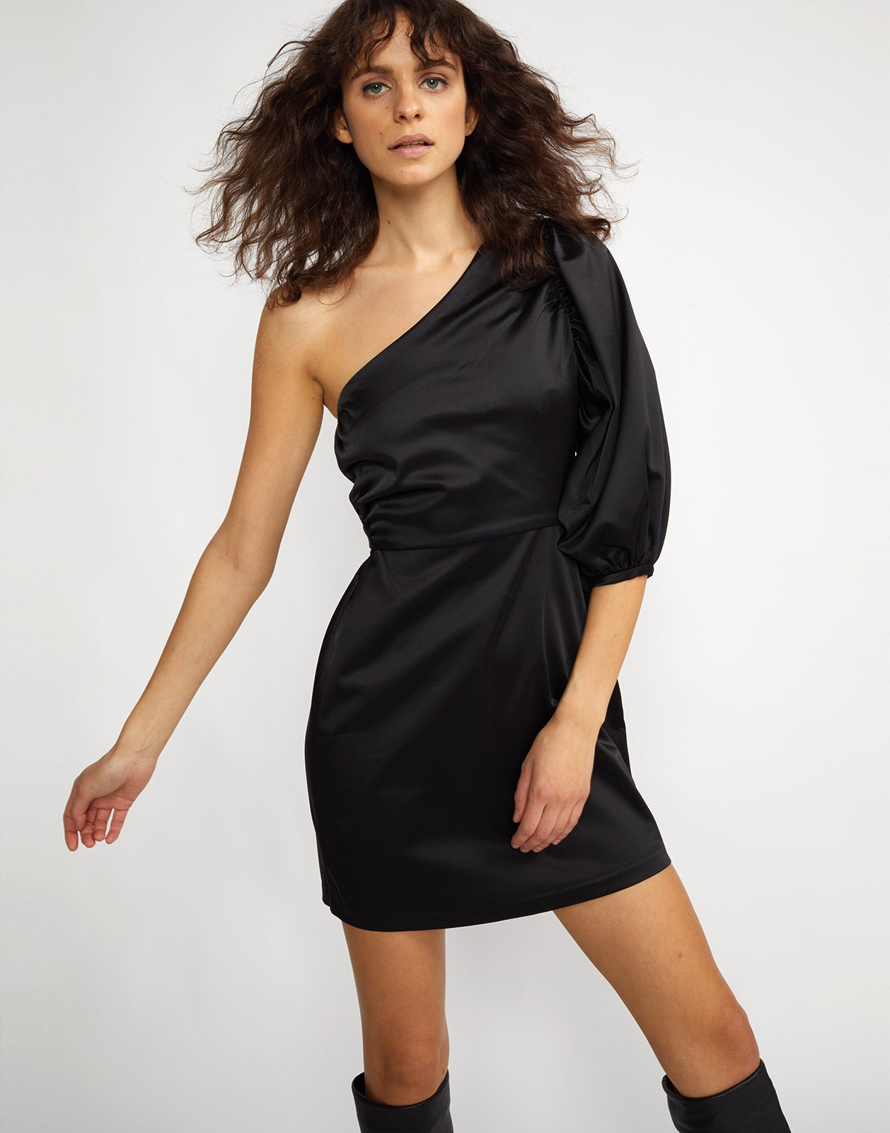 Front view of model wearing Montrose stretch satin one sleeve dress.