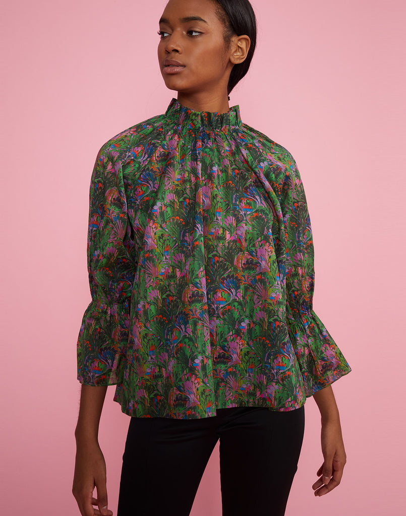 Front view of model wearing Marble Cotton Waterfall Blouse.