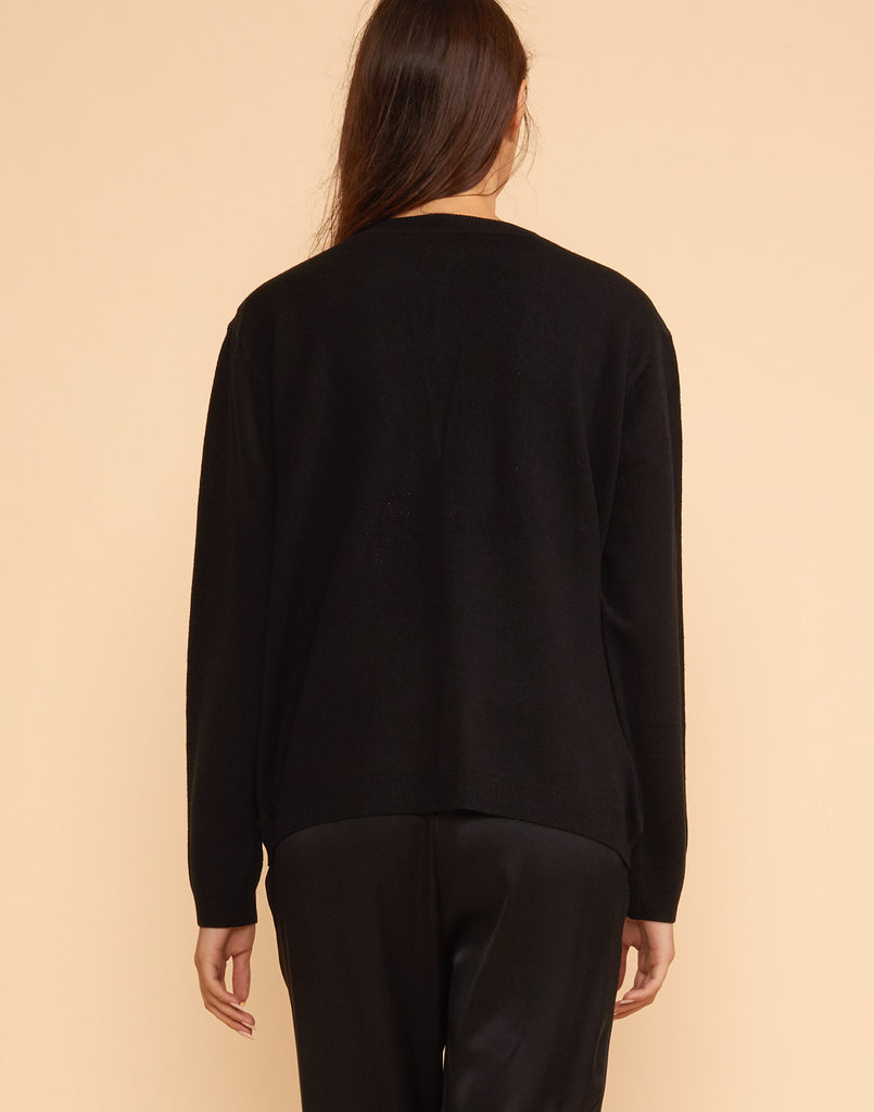 Back view of the Houston leather panel cardigan wool sweater.