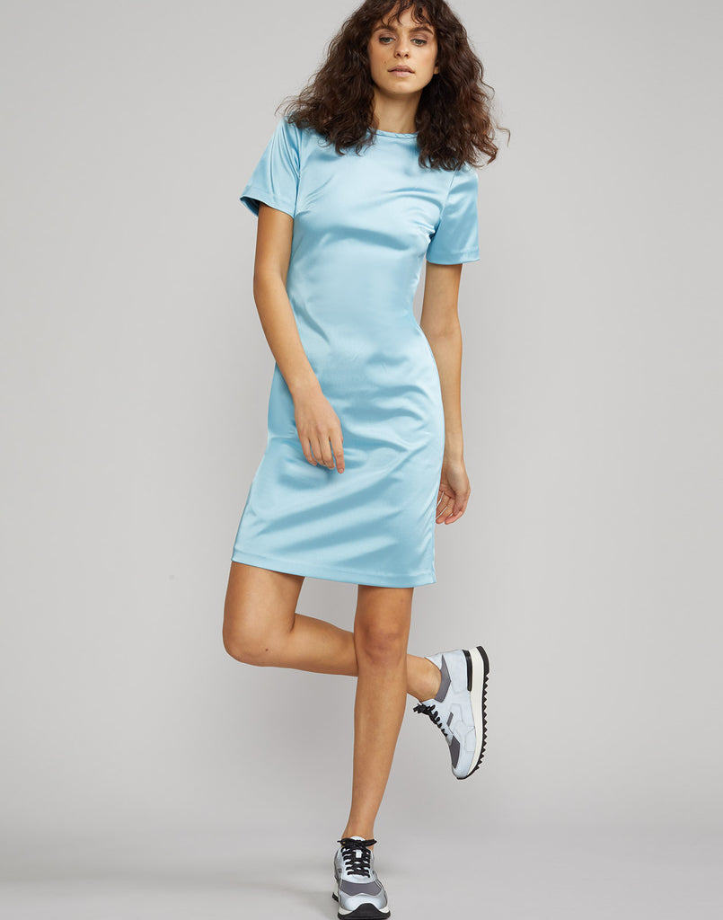 Front view of Lake Shore Stretch Satin T-Shirt Dress on model.