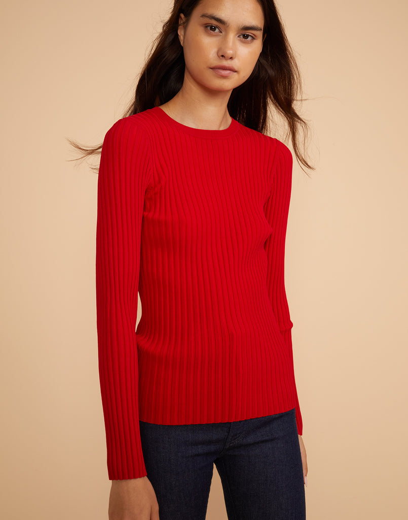 Front view of Haven ribbed sweater in red.