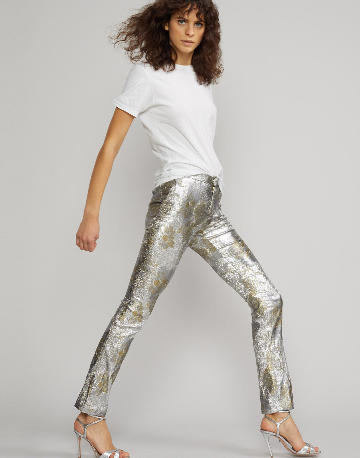 Side view of the Gold Coast Metallic Brocade Pant