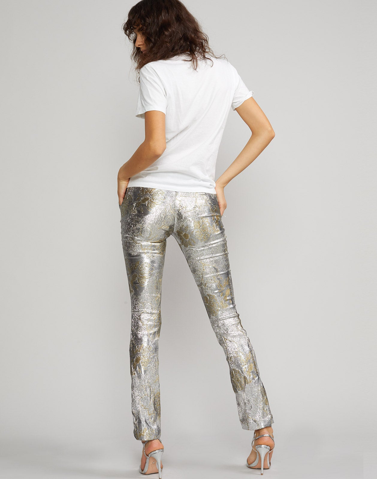 Back view of the Gold Coast metallic brocade pant