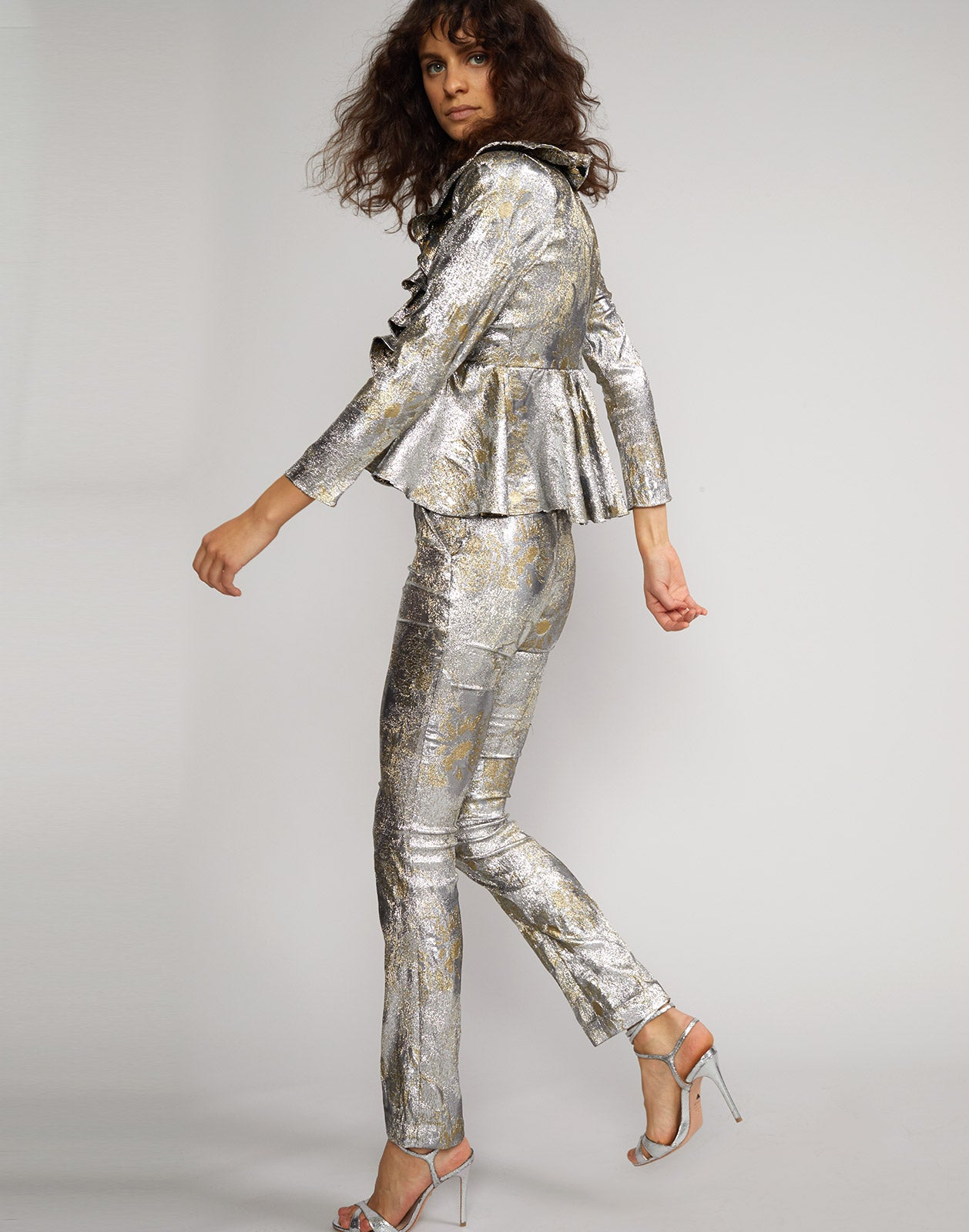 Side view of the Gold Coast metallic brocade pant and top.