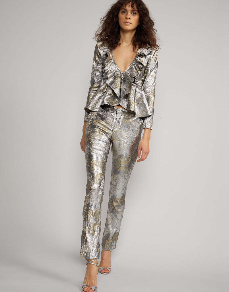 Full view of model wearing Gold Coast Metallic Brocade Ruffle Top and Gold Coast Metallic Pants.