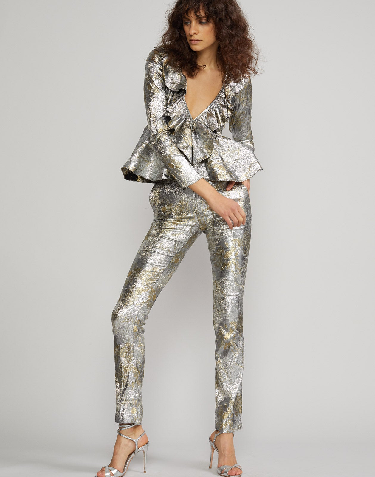 Front view of the Gold Coast metallic brocade pant and top.
