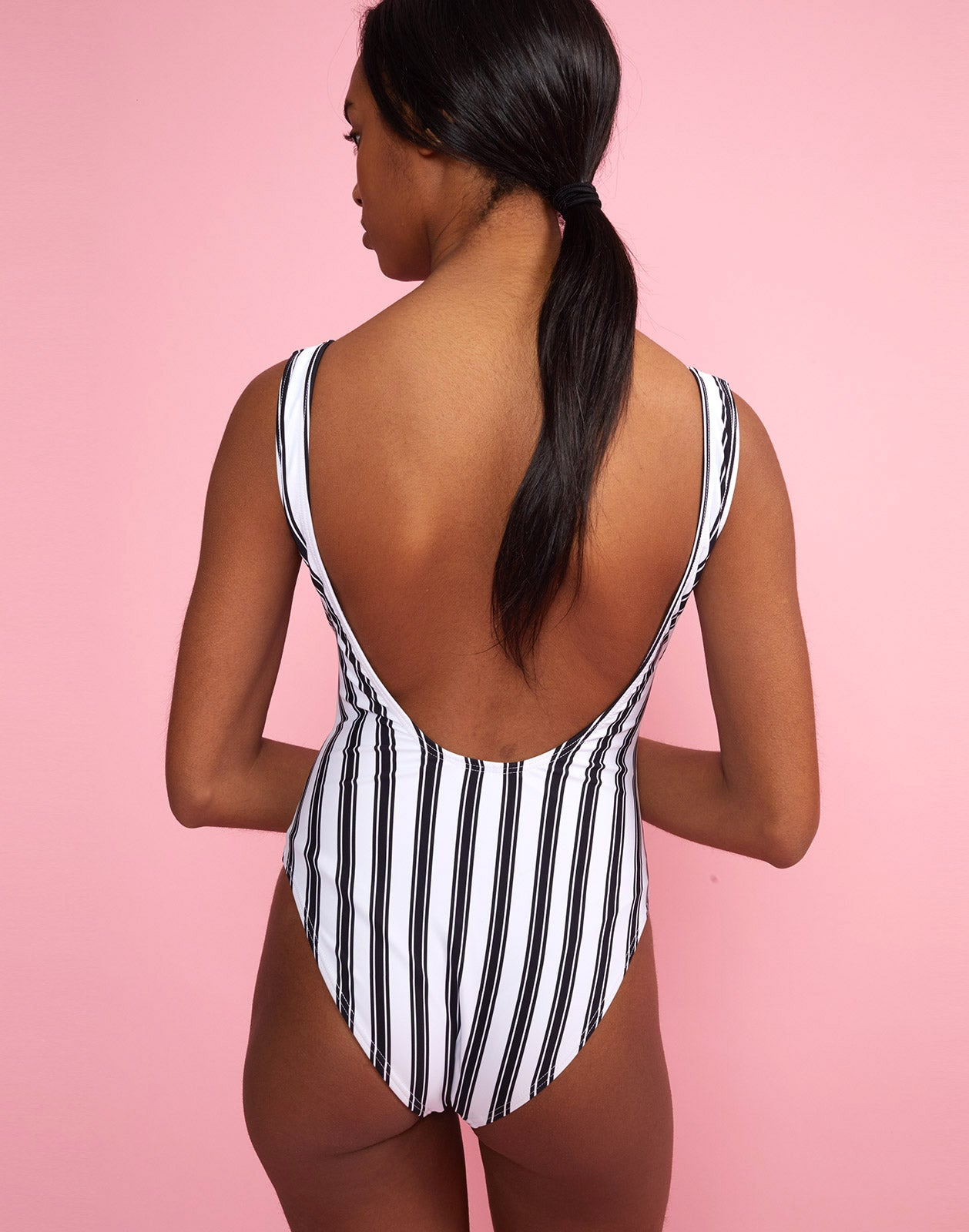 Back view of the Striped Boca One Piece Swimsuit