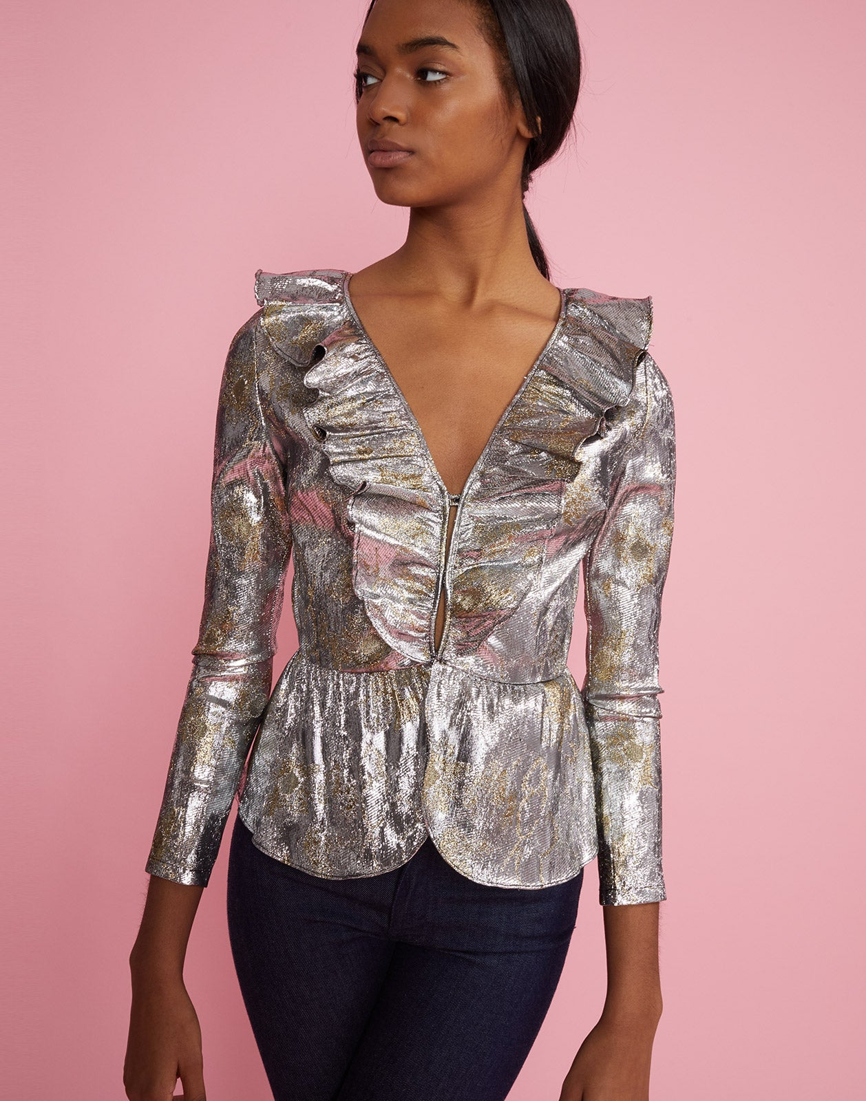 Front view of model wearing Gold Coast Metallic Brocade Ruffle Top.
