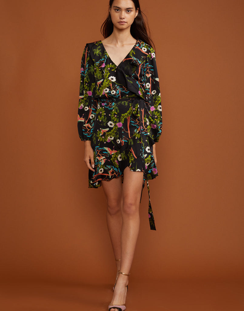 Full front view of the Dark Floral Malibu ruffle wrap dress.