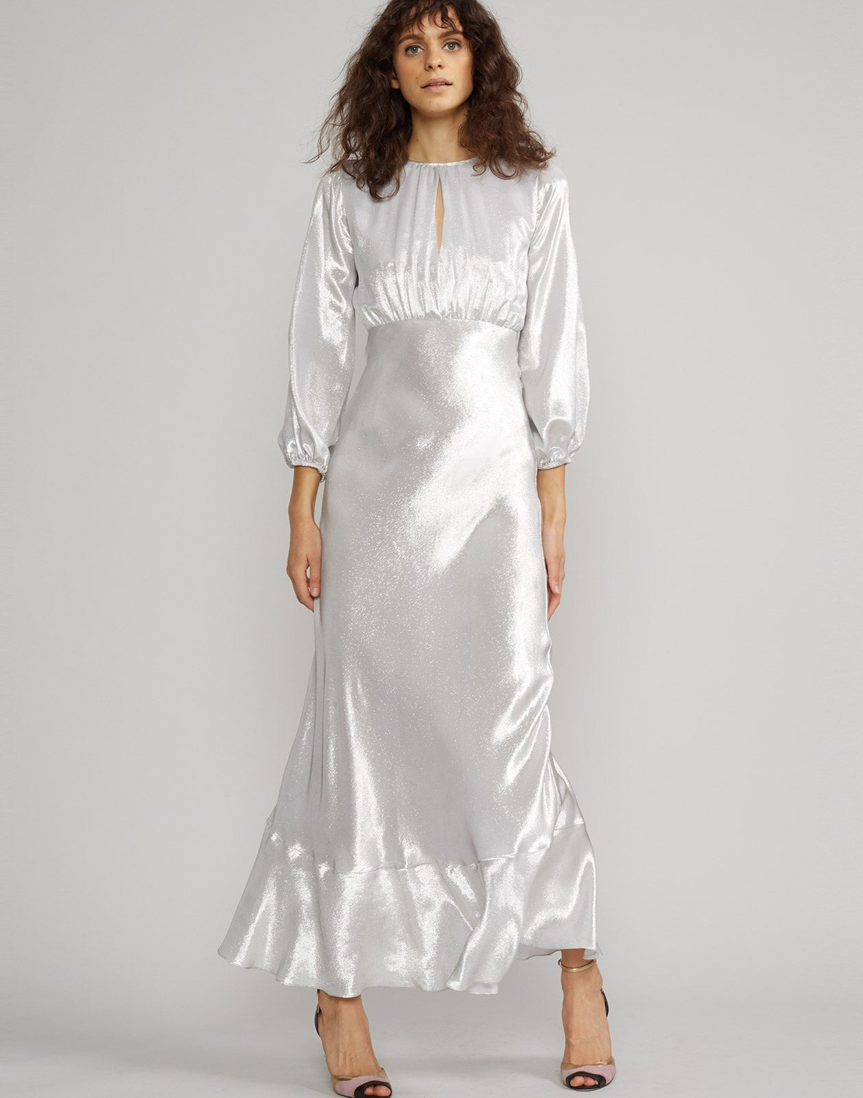 Front view of model wearing Silver Lake Metallic Maxi Dress.