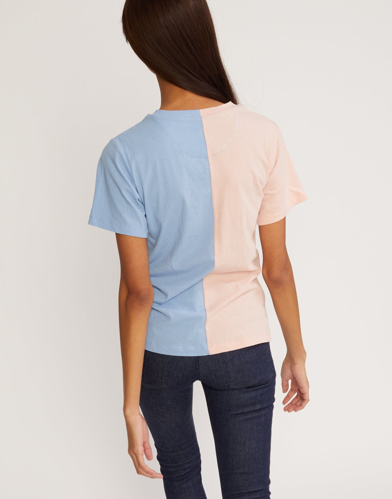 Back view of the short sleeved half blue, half pink caliyork tee in soft cotton.