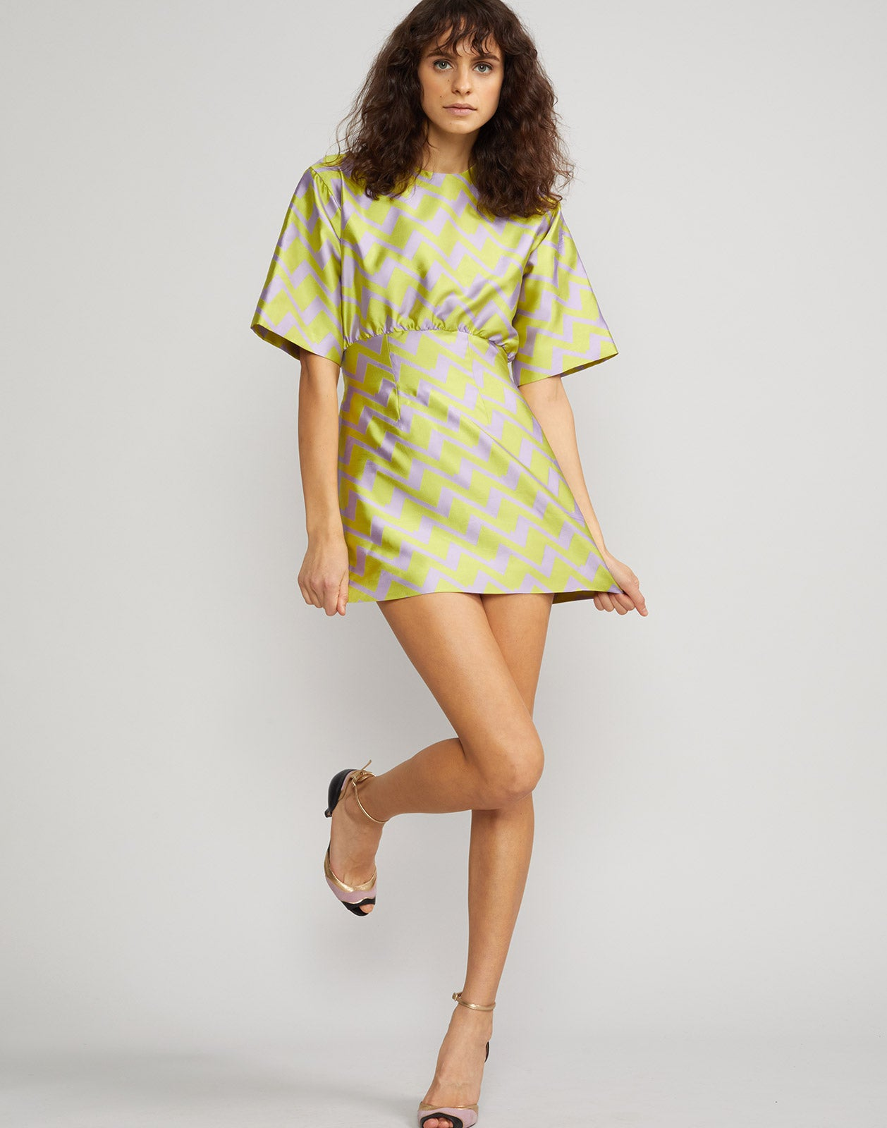 Full front view of the Evanston Zig Zag Brocade Mini Dress in lavender and lime