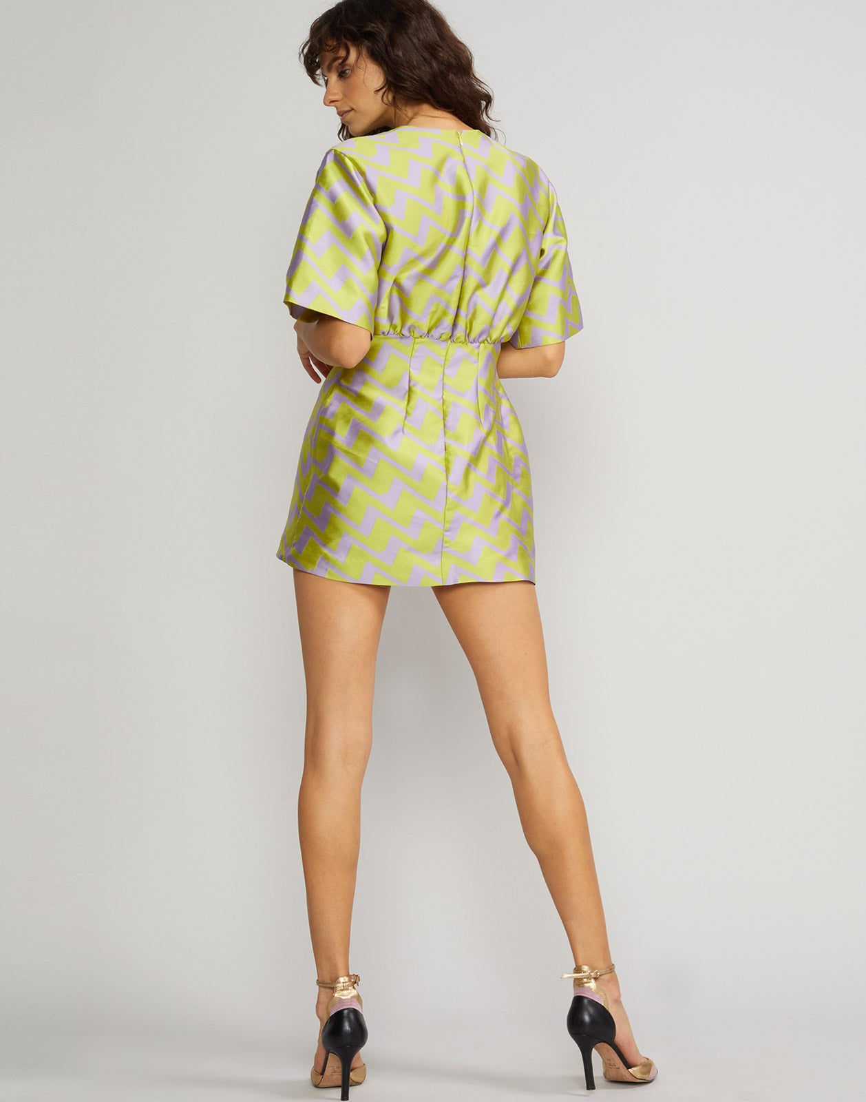 Back view of the Evanston Zig Zag Brocade Mini Dress in lavender and lime