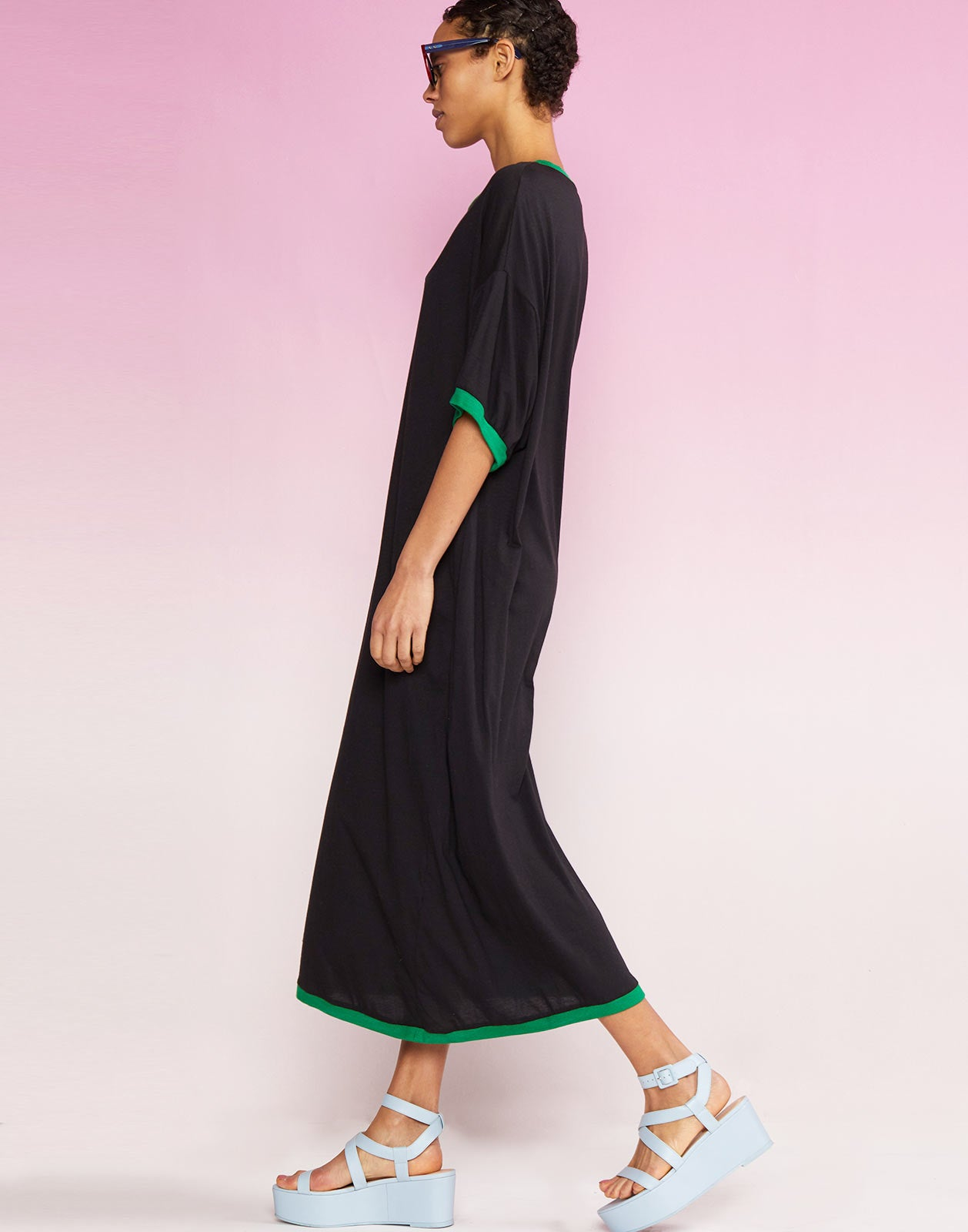 Side view of Rhyse Maxi T-Shirt Dress