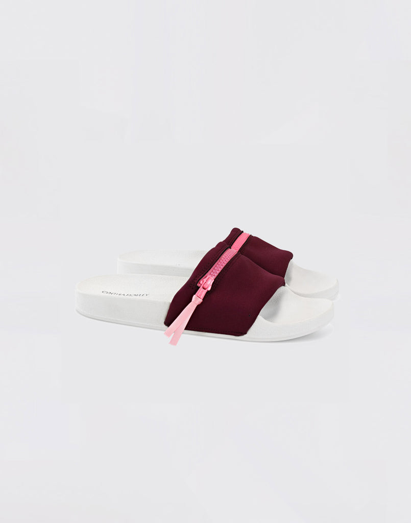 Side view of CRxBandier burgundy neoprene sandals.