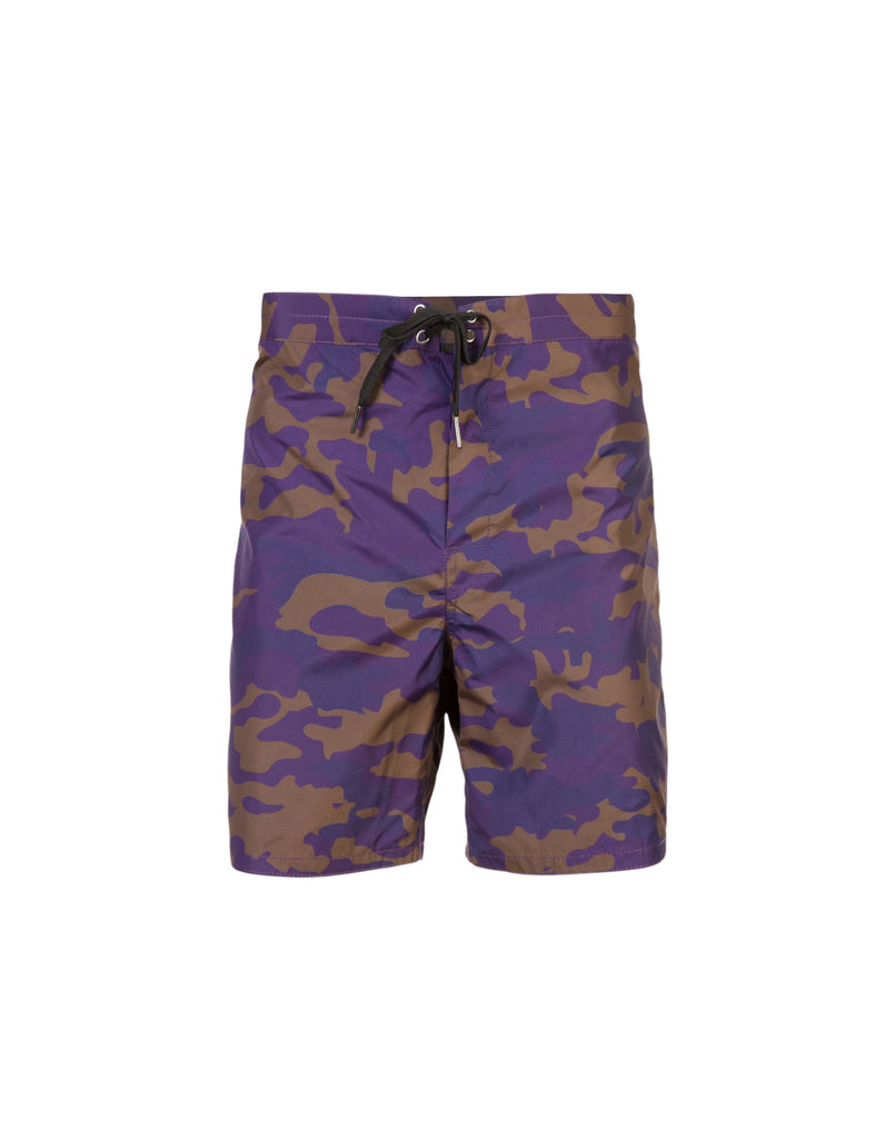 Product image of board shorts in purple, navy, and khaki camo print.