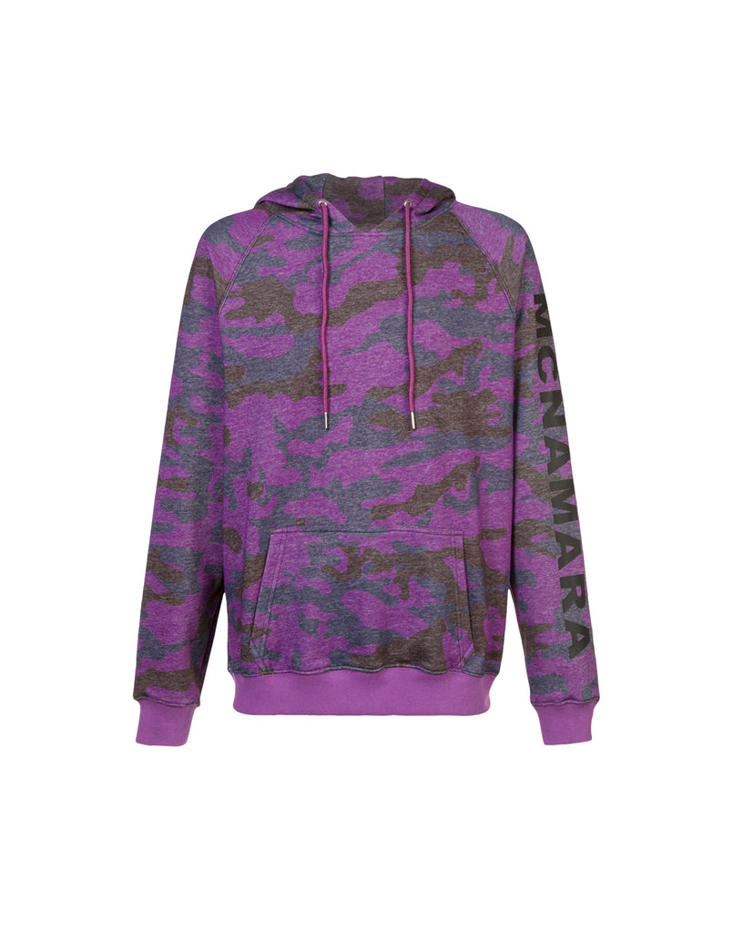 Product image of soft cotton hoodie sweatshirt in purple and navy camo print.