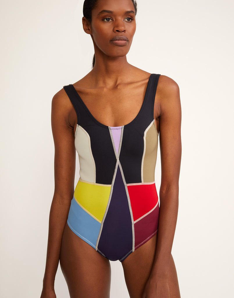 a3c0b9108bb1c Kalleigh One Piece.  165 · Front view of multi-color asymmetrical colorblock  swimsuit.