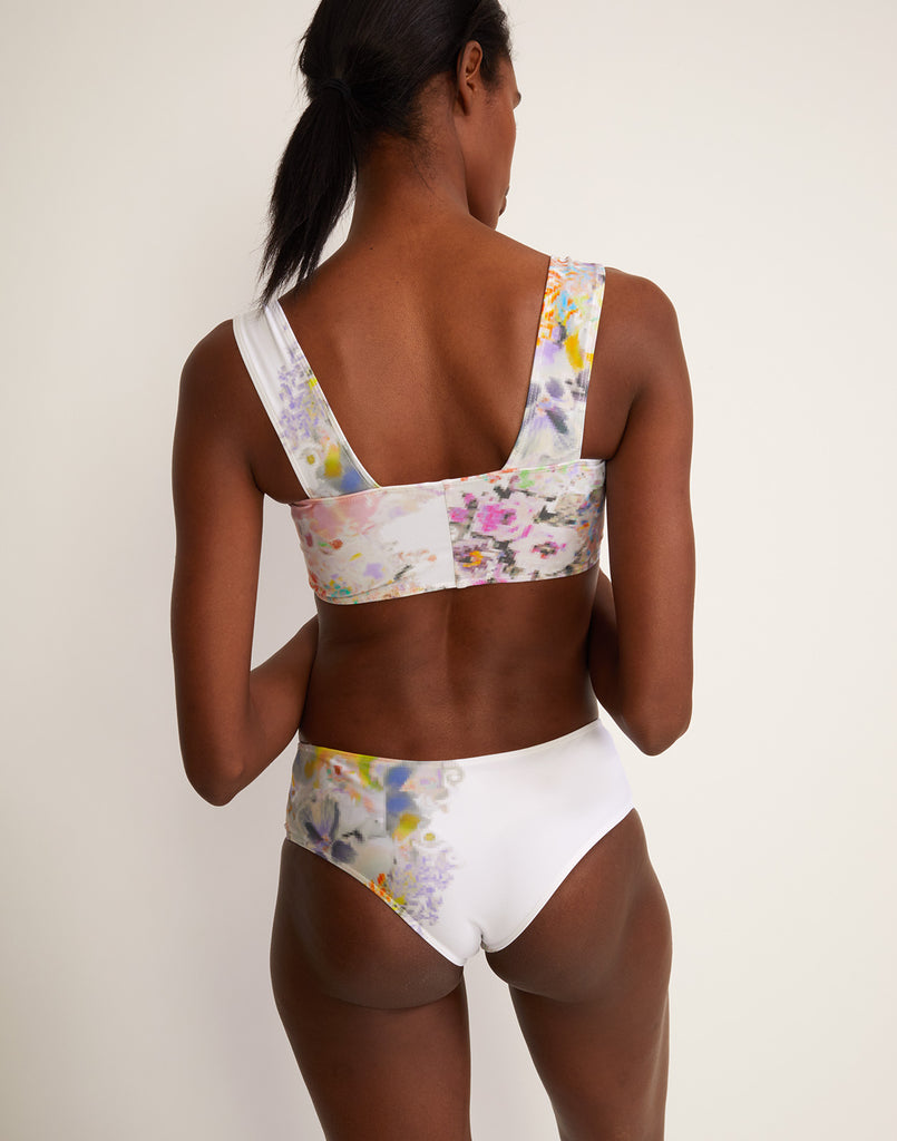 Back view of light floral bikini top and bottom.