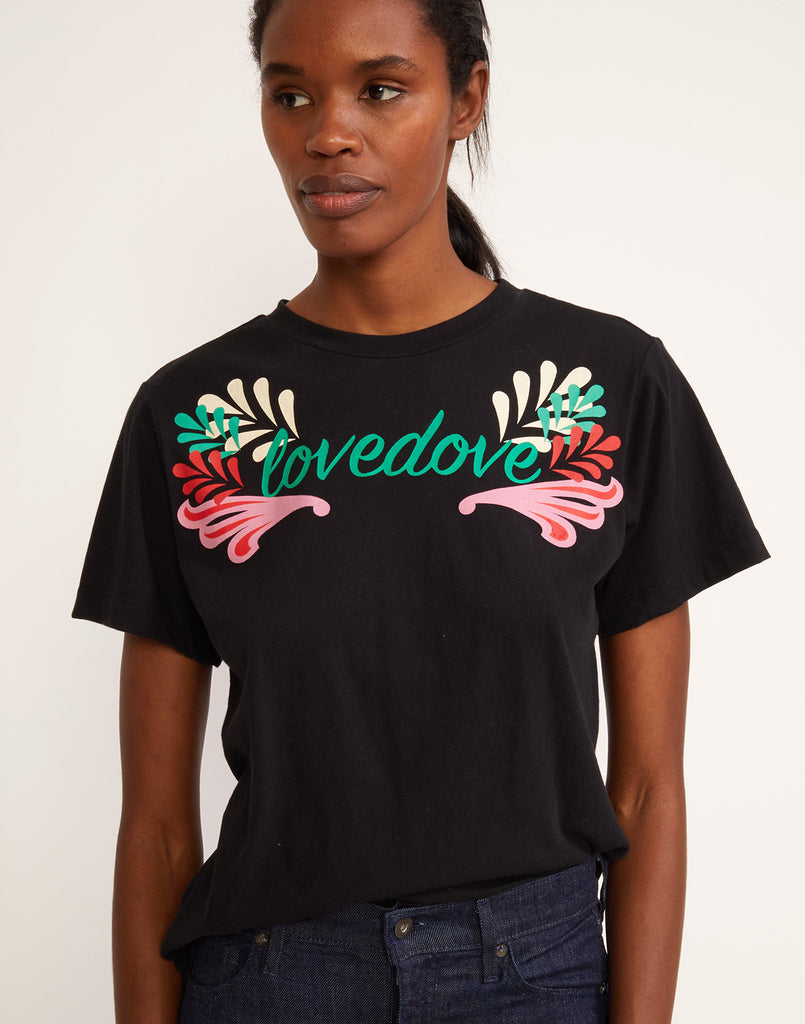 Front view of 'Lovedove' printed tee with floral motif.