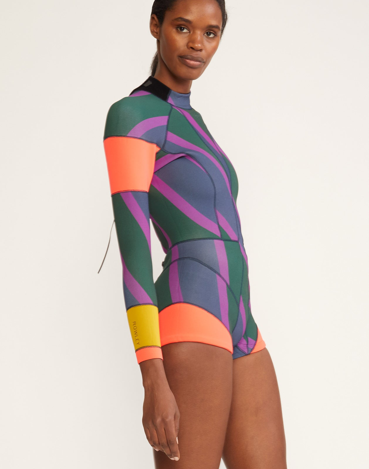 Side view of the 2mm Neoprene wetsuit with multi color zig-zag stripes and bright colorblock panels.