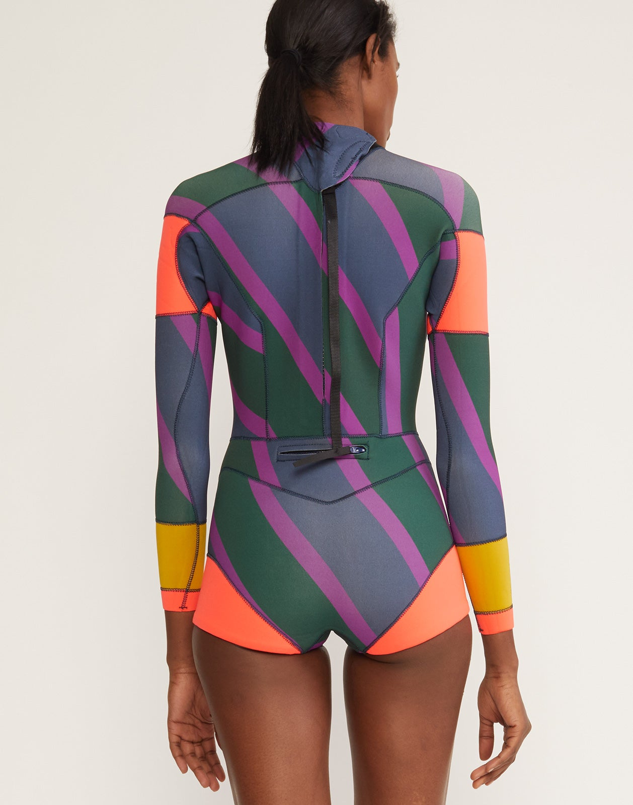 Back view of Zig Zag stripe wetsuit in brightly printed neoprene.