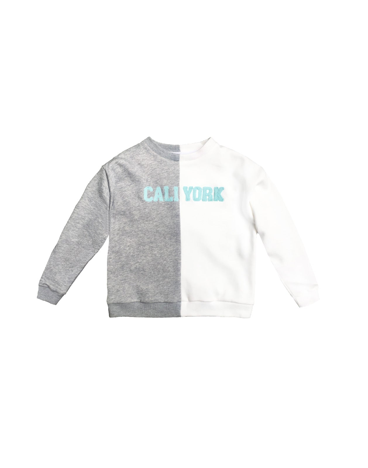 CaliYork Kid's sweatshirt in half white, half grey.