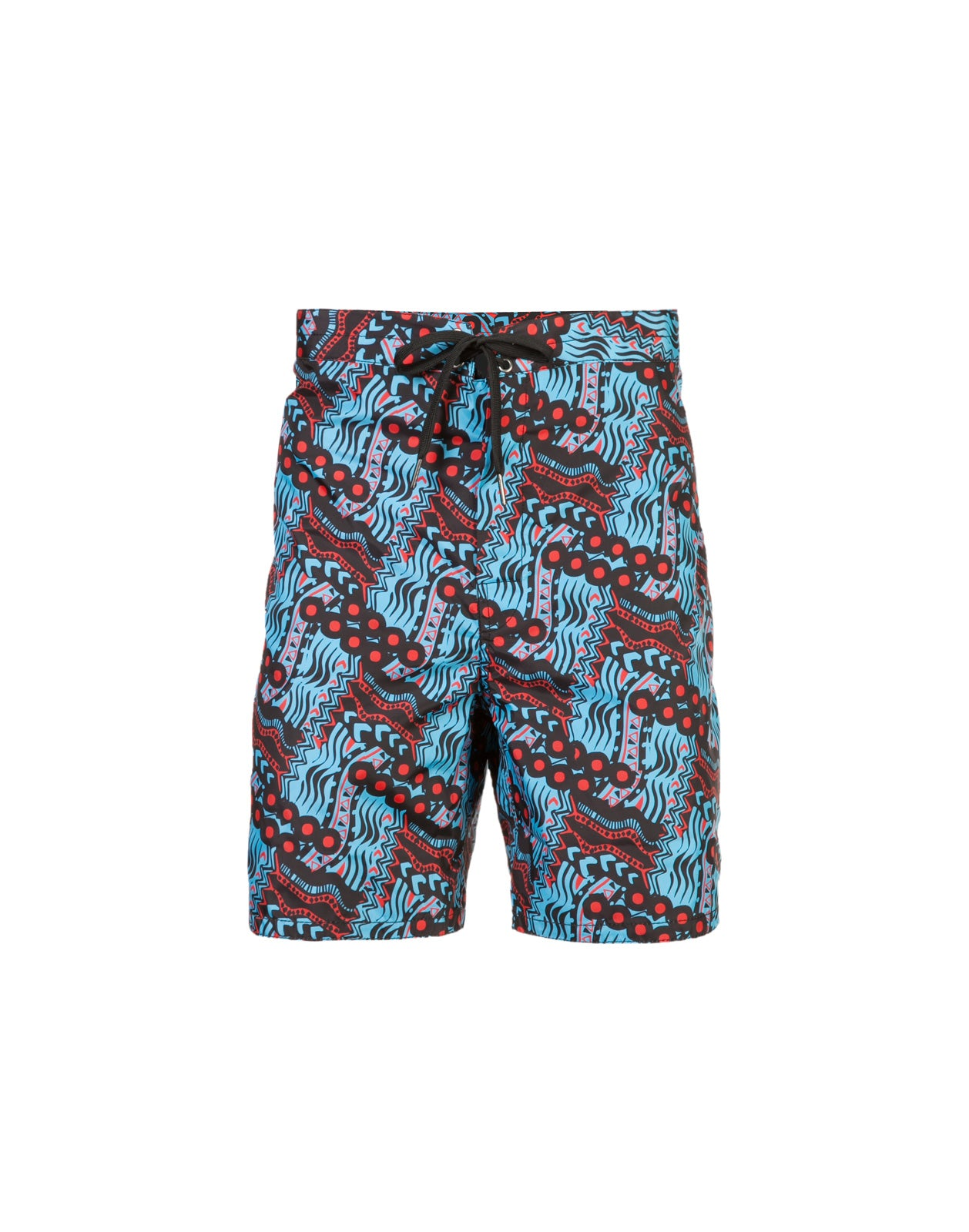 Product image of board shorts in abstract blue multi print.