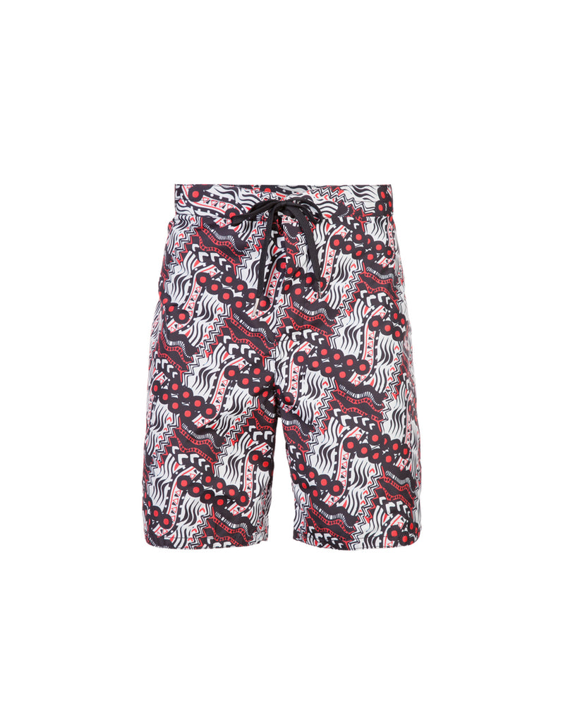 Product image of board shorts in abstract red multi print.