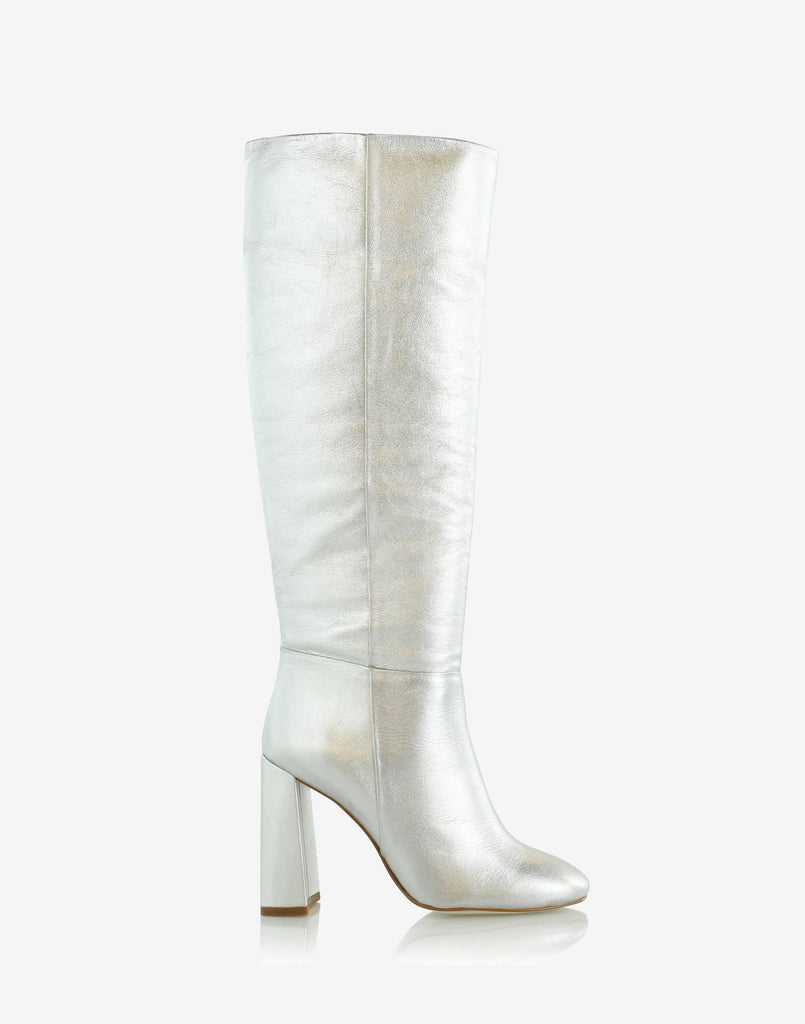 Silver metallic knee high boot