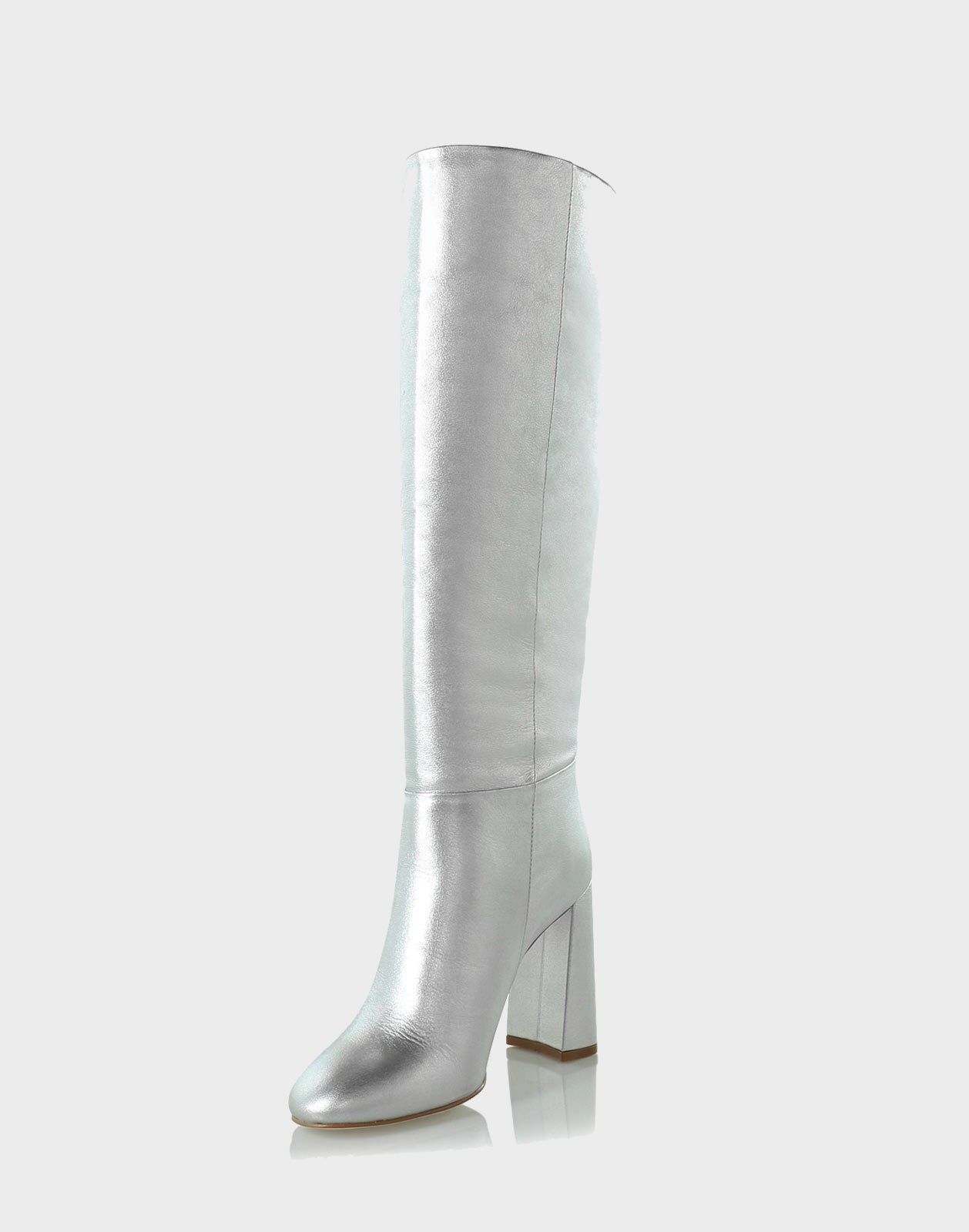Side view of the Chloe Tall boot with silver metallic leather