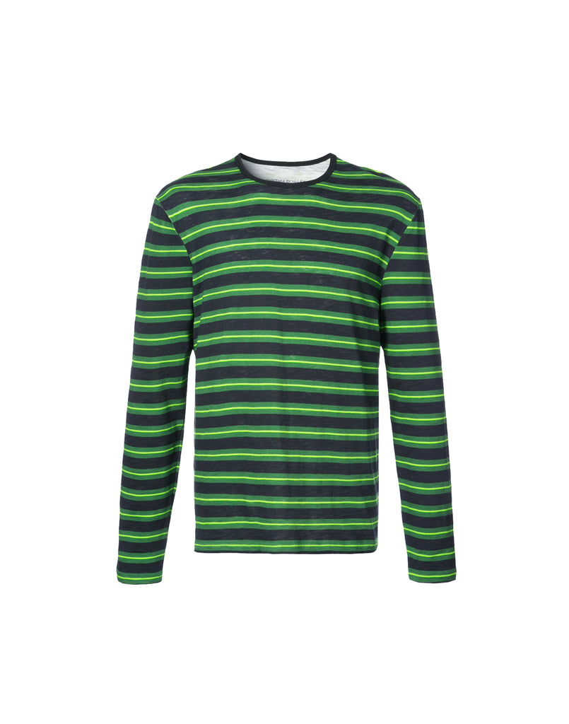 Black and green long sleeve stripe t-shirt.