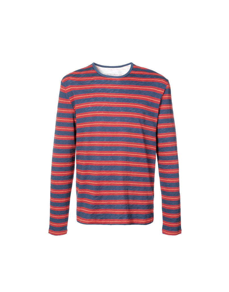 Red and navy stripe long sleeve t-shirt.