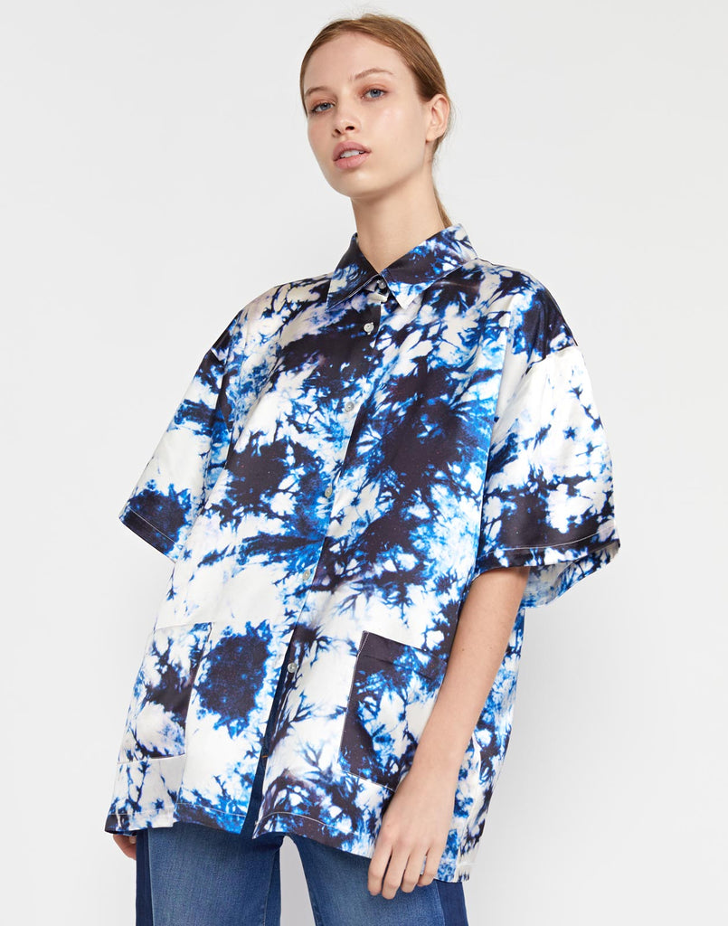 Tie Dye Printed Silk Camp Shirt