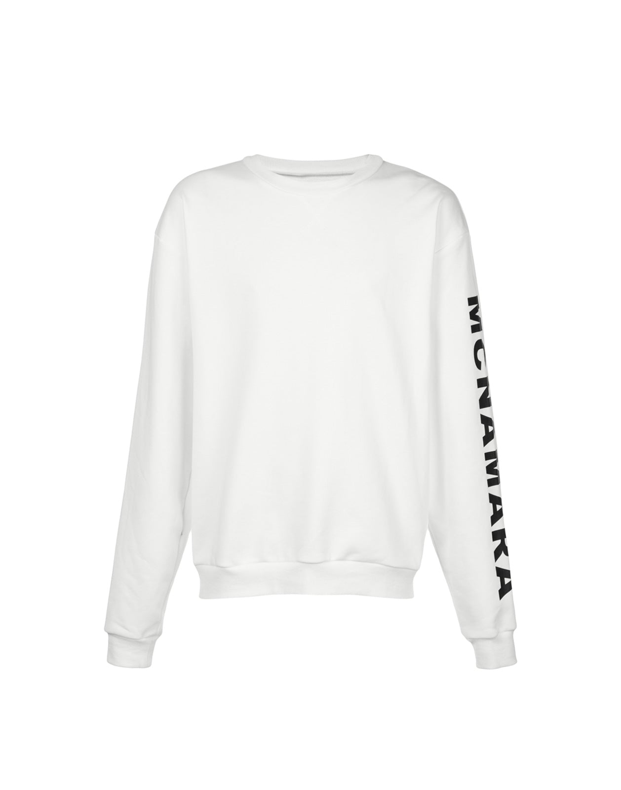 Product image of solid crewneck sweatshirt with McNamara printed down one sleeve.